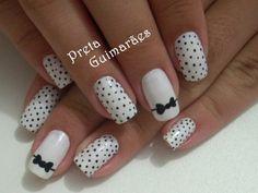 Polka dot accent nail art