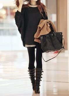 Tunic sweatshirts   leggings   boots=my fav fall/winter style.