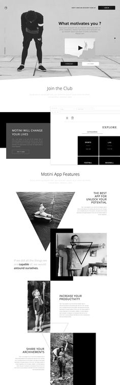 Creative landing page design for a motivation application by Sasha Turischev