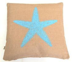 Beach Cottage Burlap Pillow - Blue Starfish Design