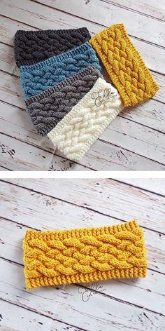 Woven Cable Headband - Free Pattern Free Knitting Pattern - Knitting for beginners,Knitting patterns,Knitting projects,Knitting cowl,Knitting blanket Knitting Stitches, Knitting Patterns Free, Free Knitting, Stitch Patterns, Crochet Patterns, Vintage Knitting, Knitting Designs, Crochet Designs, Doll Patterns