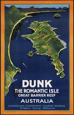 Vintage Travel Poster - Dunk - The Romantic isle - Great Barrier Reef - Australia - Posters Australia, Australia Map, Queensland Australia, Australian Vintage, Australian Art, Boston Public Library, Public Libraries, Wanderlust, Sea Art