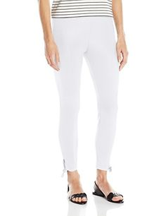 Lyssé Women's Tie Cotton Crop, White, Large -- More info could be found at the image url. Lysse Leggings, Denim Leggings, Striped Leggings, Cut Out Leggings, Plus Size Leggings, Leggings Are Not Pants, Ponte Pants, Tie, Cotton