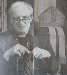 """Richard Rutt, Bishop of Leicester, was taught to knit by his nanny """"to keep him quiet""""! Knitting Humor, Knitting Yarn, Hand Knitting, Knitting Patterns, Book People, Popular Art, Vintage Knitting, Knit Or Crochet, Yarn Needle"""