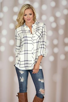 Keep Your Cool Plaid Top - Ivory from Closet Candy Boutique #fashion #shop