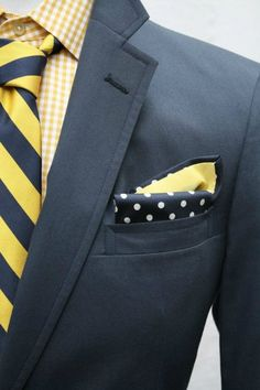 Men's Yellow Gingham Long Sleeve Shirt, Yellow Vertical Striped Tie, Charcoal Blazer, and Navy Polka Dot Pocket Square Sharp Dressed Man, Well Dressed Men, Gentleman Mode, Gentleman Style, Yellow Long Sleeve Shirt, Long Sleeve Shirts, Mens Attire, Mens Suits, Dress For Success