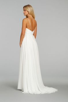Style 7401 > Bridal Gowns, Wedding Dresses > Ti Adora by Alvina Valenta > Shown Ivory Crinkle Chiffon gown. Draped bodice with Jewelled Flower detail & Corded Lace placed throughout. Sweetheart neckline with Spaghetti straps & low back (back)