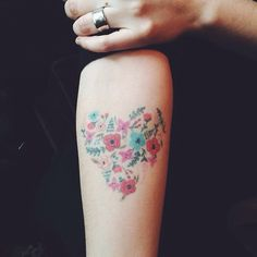 Floral heart tattoo inspired by Rifle Paper Co.