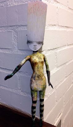 Altered Barbie with encaustic and original drawing by Triciajoy, $65.00
