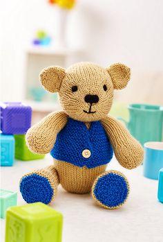 Crochet Stuff Bears Patterns (free pattern) Charlie Bear - Knit an adorable heirloom gift that will be treasured forever Knitting Bear, Teddy Bear Knitting Pattern, Knitted Teddy Bear, Crochet Teddy, Crochet Toys, Free Knitting, Knitting Toys, Teddy Bears, Animal Knitting Patterns