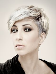 Short Blonde straight hairstyles provided by Mob Salons.