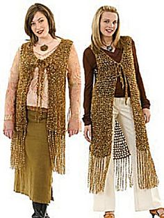 Set your fashion spirit free with two takes on the hippie-chic vest. Choose from short knit version or long crochet version. Fun flowing fringe finishes the look. (Lion Brand Yarn)