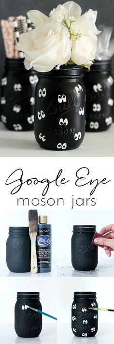 Google Eye Mason Jars for Halloween - Halloween Mason Jar Craft for Kids