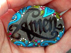Amen / Painted Rock / Sandi Pike Foundas / Cape Cod Sea Stone