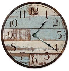 BLUE RUSTIC WOOD CLOCK - Large 10.5""