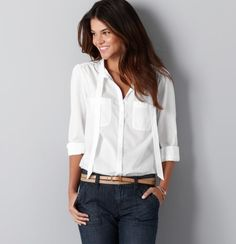 The best white shirt ever from #Loft. Its really easy to wear, no gapping and I get compliments every time.