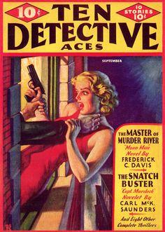 TEN DETECTIVE ACES   pulp vintage paperback cover art