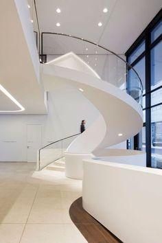 Sleek helical stairs by Landau + Kindelbacher