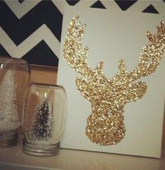 Reindeer glitter on canvas