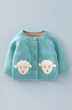 'Crochet Pet' Knit Cardigan (Baby Girls & Toddler Girls)
