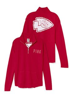 Kansas City Chiefs Bling Half Zip Pullover Chiefs Football, Kansas City Chiefs, Football Season, Kc Cheifs, Casual Outfits, Cute Outfits, Football Outfits, Team Wear, Half Zip Pullover