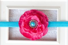 Bright Fuschia Flower with Turquoise Pearl by JustforGirlsBoutique, $8.50
