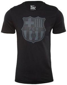 Nike FC Barcelona Crest T-Shirt Mens 689654-011 Black Cotton Crew Tee Size M 0266ed2eb331d