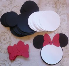 25 Black Minnie Mouse Head Shapes White Circle Shapes Red Bows- Die Cut pieces for DIY Birthday Party Invitations on Etsy, $18.75