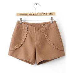 Khaki Low Waist Buttons Embellished Shorts ($30) ❤ liked on Polyvore