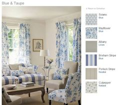 Blue and taupe - Jane Churchill fabrics