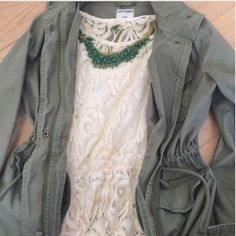 Military Inspired Jacket Military Style Green Jacket. Features a draw string synched waist and four front pockets. This is really a wardrobe essential. New without tags. ✨✨ I use this one to style a lot of my posh looks. OBSESSED ⭐️ Old Navy Jackets & Coats