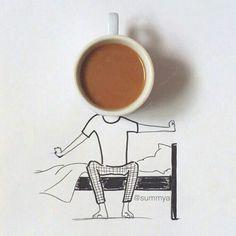 coffee on my mind Black Magic, Morning Coffee, Tea, Tableware, Drawing, Nice, Illustration, Instagram, Drawing Drawing