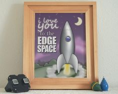 "A playful ""I love you to the Edge of Space"" as a silver rocket space ship blasts off toward the moon."
