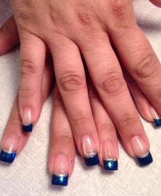 Navy Blue French With Silver Lining And Silver Beads Bridesmaids Nails Navy And Silver Nails Silver Nails