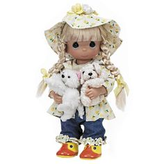 The Precious Moments Raining Cats and Dogs Animal Lover Doll is dressed in a flower-printed rain slicker and hat, ruffle-cuff jeans, and duck-faced rain boots. Description from laiee.com. I searched for this on bing.com/images