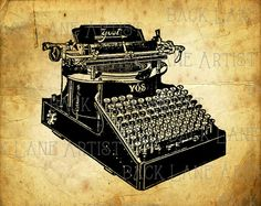 Vintage Typewriter Clipart Lineart Illustration by BackLaneArtist