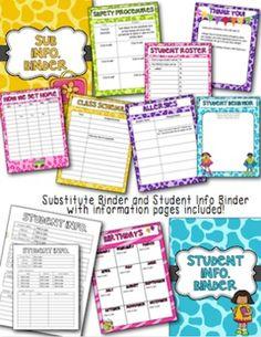 EDITABLE Teacher Binder (Including Substitute packet) on TPT$