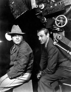 "Frank Capra and Gary Cooper on the set of ""Mr. Deeds Goes to Town"" (1936)"