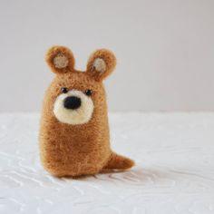 Bearkitts, oso marrón jaspeado fibra animal arte de la aguja