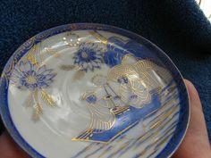 Antique Japan tea pair cup plate fine porcelain blue gold ancient japanese boat