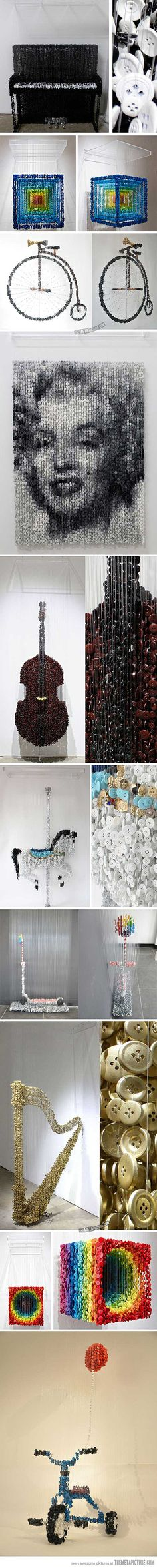 Sculptures made from suspended sewing buttons…