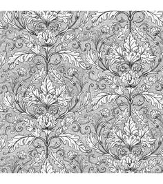 Tim Coffey Premium Quilt Fabric Vine Scroll Black & White