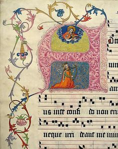 Manuscript Leaf from a Gradual    Date:      second quarter 15th century  Geography:      Made in, probably Mainz, Germany  Culture:      German  Medium:      Parchment, tempera, ink, metal leaf  Dimensions:      19 5/8 x 14 5/16 in. (49.8 x 36.4 cm)  Classification:      Manuscripts & Illuminations  Credit Line:      Gift of Miss Alice M. Dike, in memory of her father, Henry A. Dike, 1928
