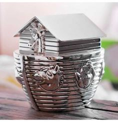 Silver Plated Noahs Ark Money Box Piggy Bank Baby Christening Gift
