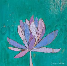 Lotus Purple Teal Canvas Print by Jennifer by jennifermercede