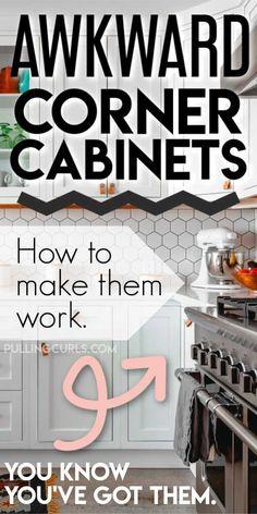How to Organize Corner Cabinets Kitchen Cabinet Organization, Home Organization, Organizing Ideas, Kitchen Storage, Dream Home Design, Home Interior Design, House Design, Cabinet Space, House Smells