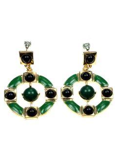 2,95 per paar bij Deoorbel.nl Groen met zwarte ronde oorbellen (steker) #oorbellen #earring
