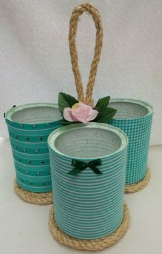 Latas de leite podem ser usadas para decorar e organizar - Tin Can Crafts, Diy Home Crafts, Jar Crafts, Bottle Crafts, Arts And Crafts, Recycled Tin Cans, Recycled Crafts, Tin Can Art, Tin Art