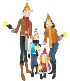 royalty free clipart image of a family celebrating new years eve 411725 iclipartcom
