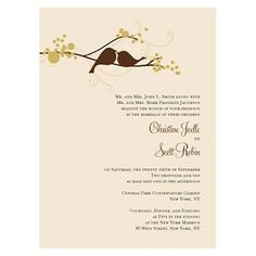 Love Bird Invitation - We could probably cut out something similar with the Cricut machine :)